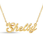 SuperJeweler Shelby Nameplate Necklace in Gold, 16 inch Chain