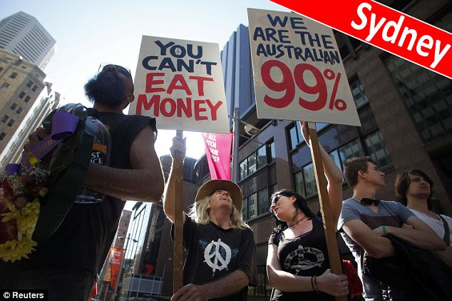 Occupy Sydney holds signs in front of the Reserve Bank of Australia