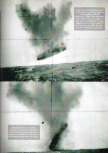 """(Top) The craft, which looks a lot like the one in the first picture, seems to be in trouble. Is it on fire? Does it come from the depths of the ocean or is it headed there? Despite the fact that its form perfectly resembles the typical """"cigar"""" shape of UFOs, it is still impossible to distinguish more details of its structure. (Bottom) According to the letter from our """"anonymous contact"""", the submarine was equipped with an analog camera, thus explaining the image overlay (or double exposure?) of the visible graduations (I'm assuming they're talking about the double crosshairs.)"""