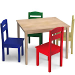 Gymax Kids 5 Piece Table Chair Set Pine Wood Multicolor Children Play Room Furniture