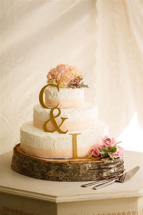 Spice cake wedding cake! Blush and gold. fall backyard