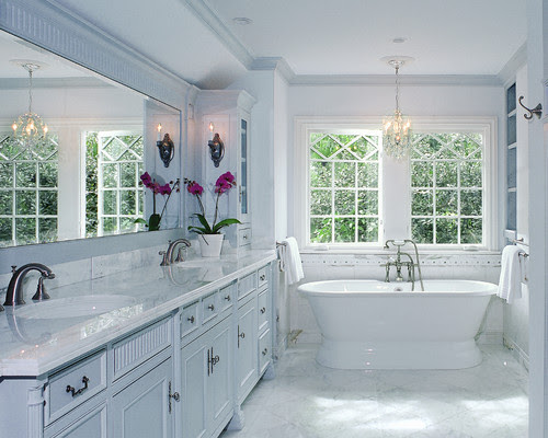 Tudor Revival traditional bathroom