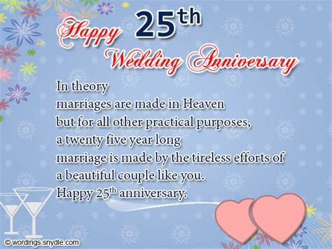 Wedding Couple Wishes: Happy 25th Anniversary Wishes for