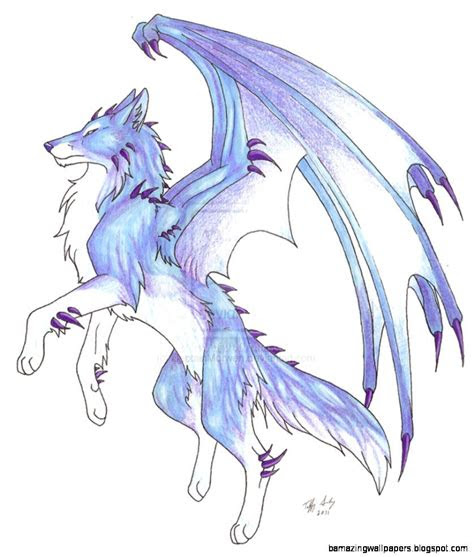 anime ice wolf  wings wallpapers gallery dragons