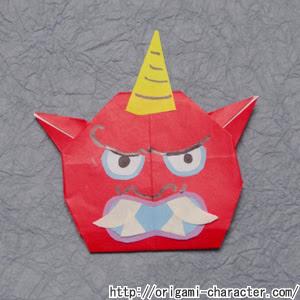 折り紙 妖怪ウォッチ赤鬼の折り方 キャラクター折り紙com