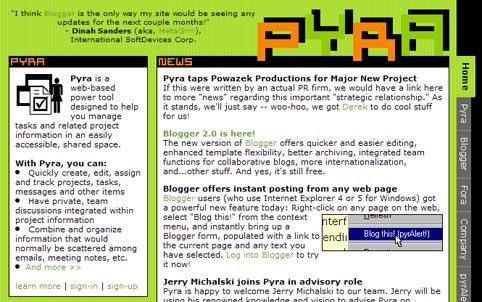 Pyra.com homepage March 2, 2000