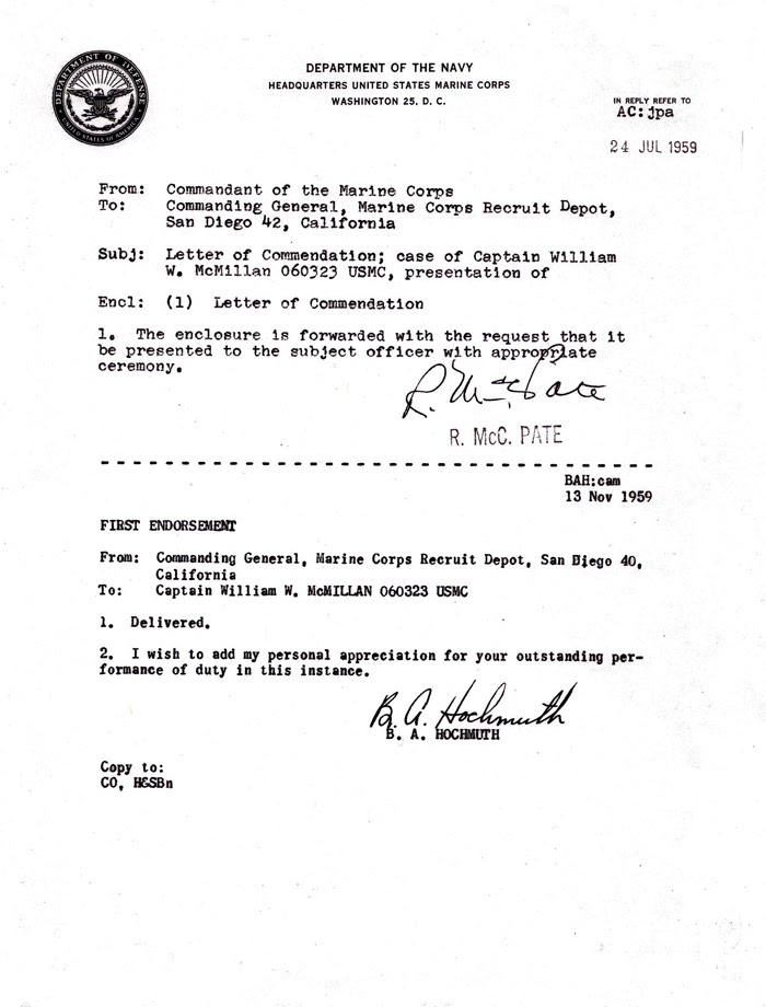 Usmc Template Letter Appointment July Commendation 1959 24