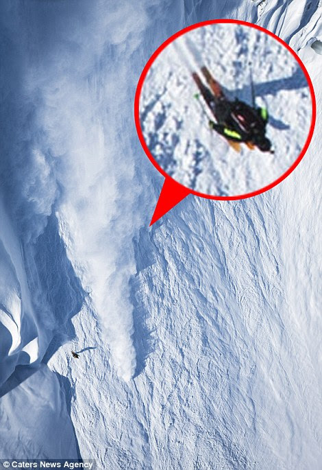 Skiing down vertical drops