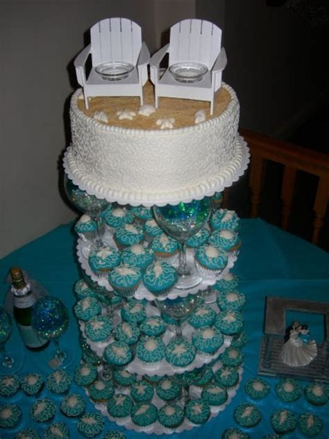Beach Themed Cupcake Tower   CakeCentral.com