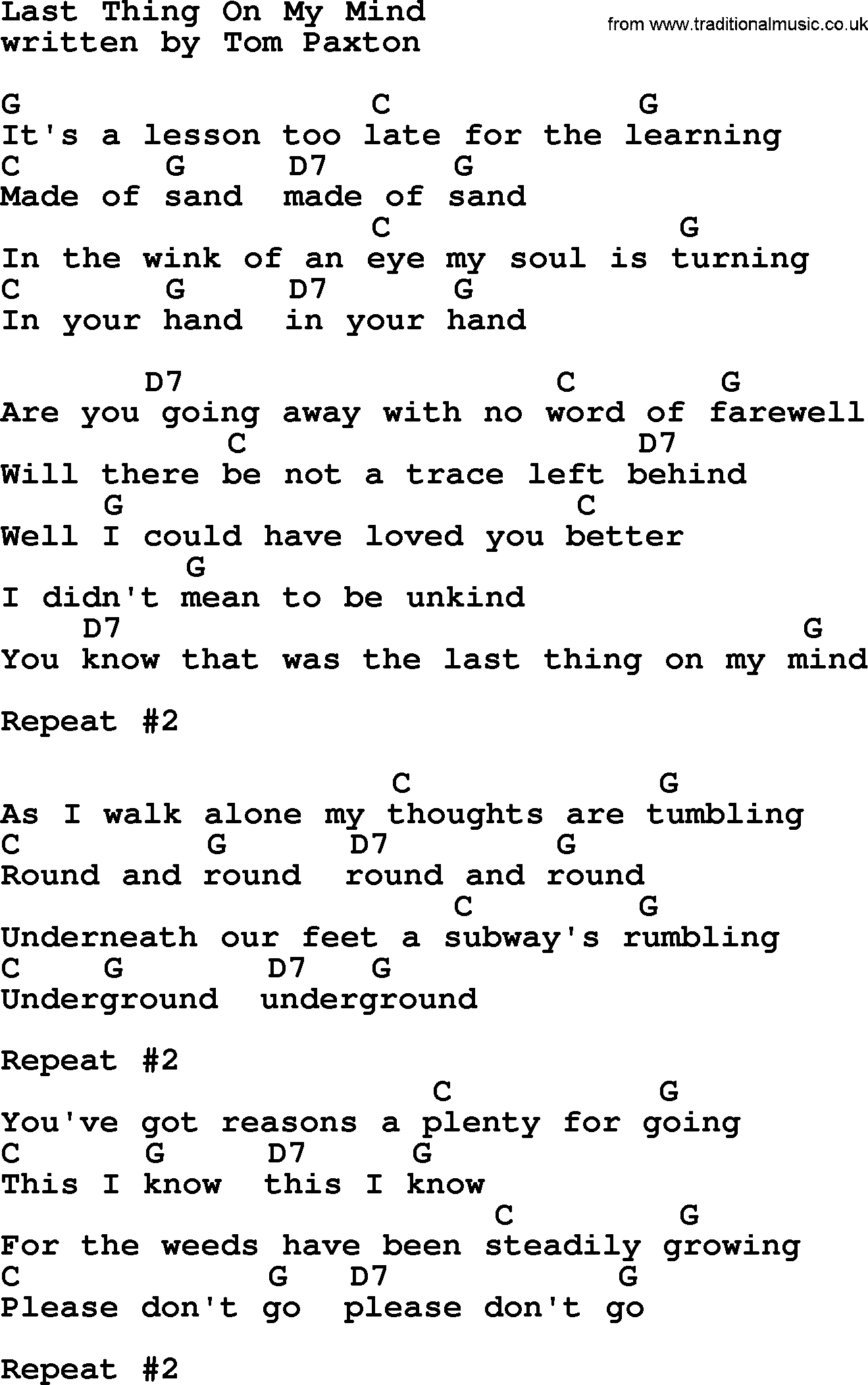 Dolly Parton Song Last Thing On My Mind Lyrics And Chords