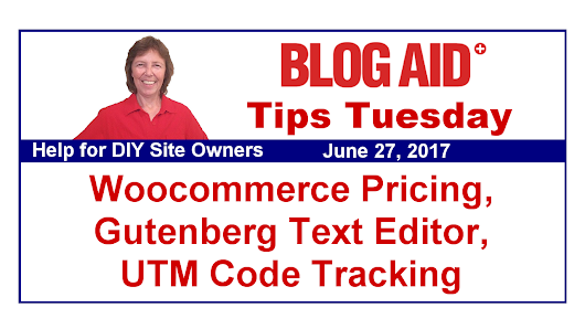 Tips Tuesday – Woocommerce Pricing, Gutenberg Text Editor, UTM Code Tracking | BlogAid