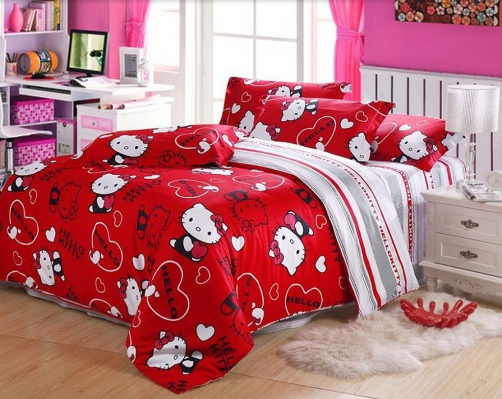 Cute Hello Kitty Bedding Sets For Girls Bedroom Set Atmosphere Ideas Shirt Pillow Curtains Queen Blanket Wallpaper Furniture Apppie Org