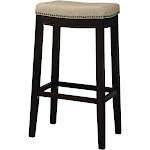 "Linon Hampton 30"" Fabric Upholstered Top Bar Stool, Dark Walnut"