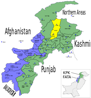 Map showing the location of Swat District (hig...