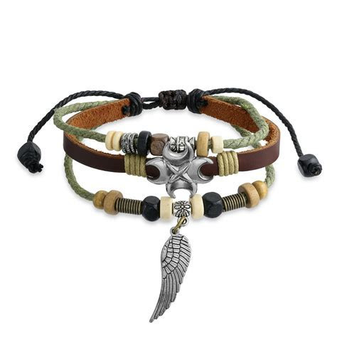 Zen Surf Leather Wrap Bracelet Crescent Moon Angel Wing