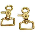 """1"""" Trigger Snaps Solid Brass 2 Pack Scissor Swivel By Hill Leather Company"""