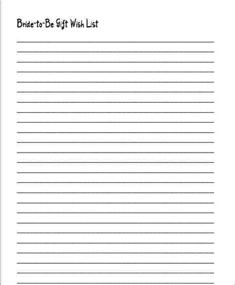 Wedding Gift List Templates   6  Free Word, PDF Format