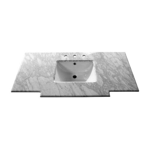 Bellaterra Home 45w X 22 2d In Carrara Marble Vanity Top With Sink