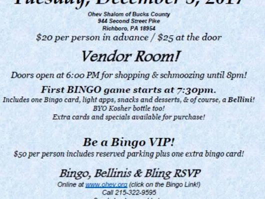 Ohev Shalom of Bucks County Will Host Bingo, Bellini's and Bling