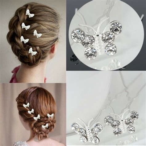Butterfly Wedding Hair Pins Bridesmaid Crystal Diamante