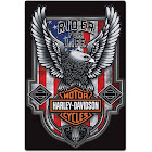 Harley-Davidson Rider for Life Embossed Flag Tin Sign, 12 x 18 Inches 2012041