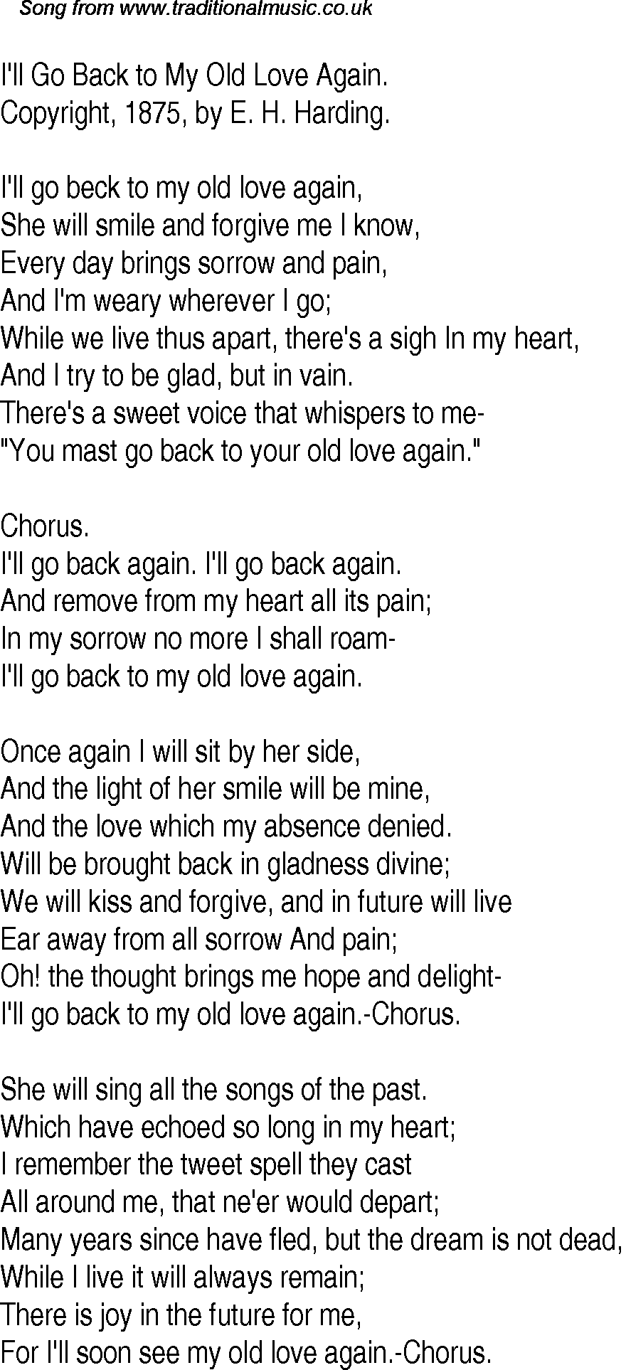 Old Time Song Lyrics For 31 Ill Go Back To My Old Love Again
