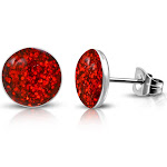 """Stainless Steel Red Glitter Round Stud Earrings, 0.25"""""""