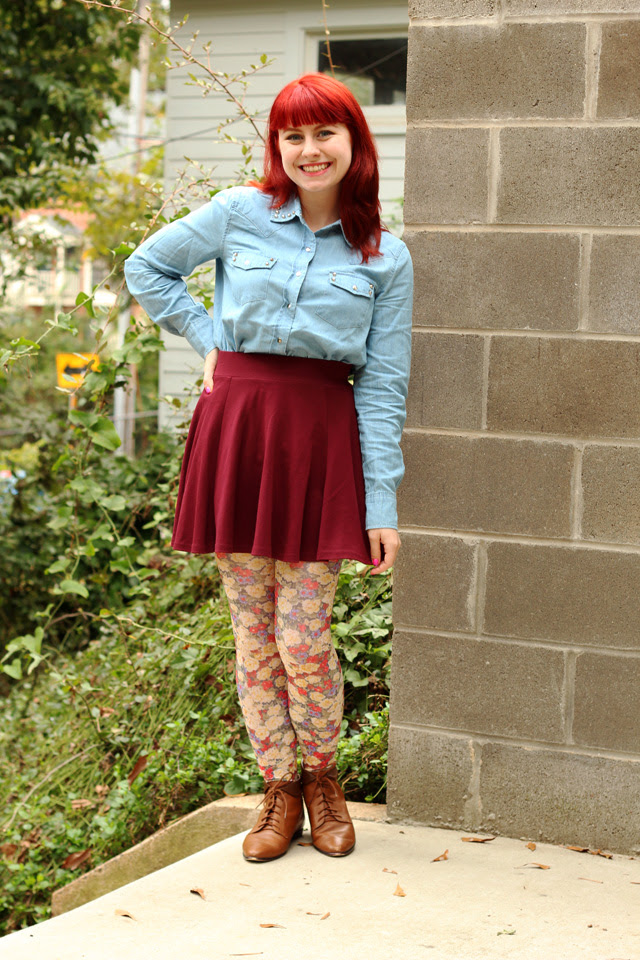 Denim Shirt, Skater Skirt, Floral Tights, Lace-up Boots