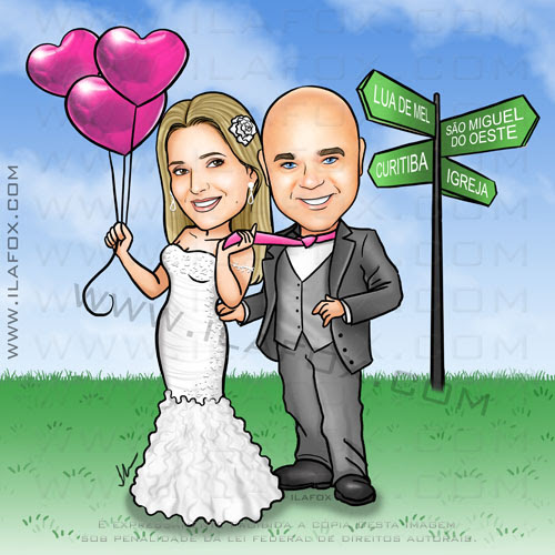caricatura casal, caricatura noicinhos, noiva com balão de coração, placa de cidades, noivo careca, noiva loira, by ila fox