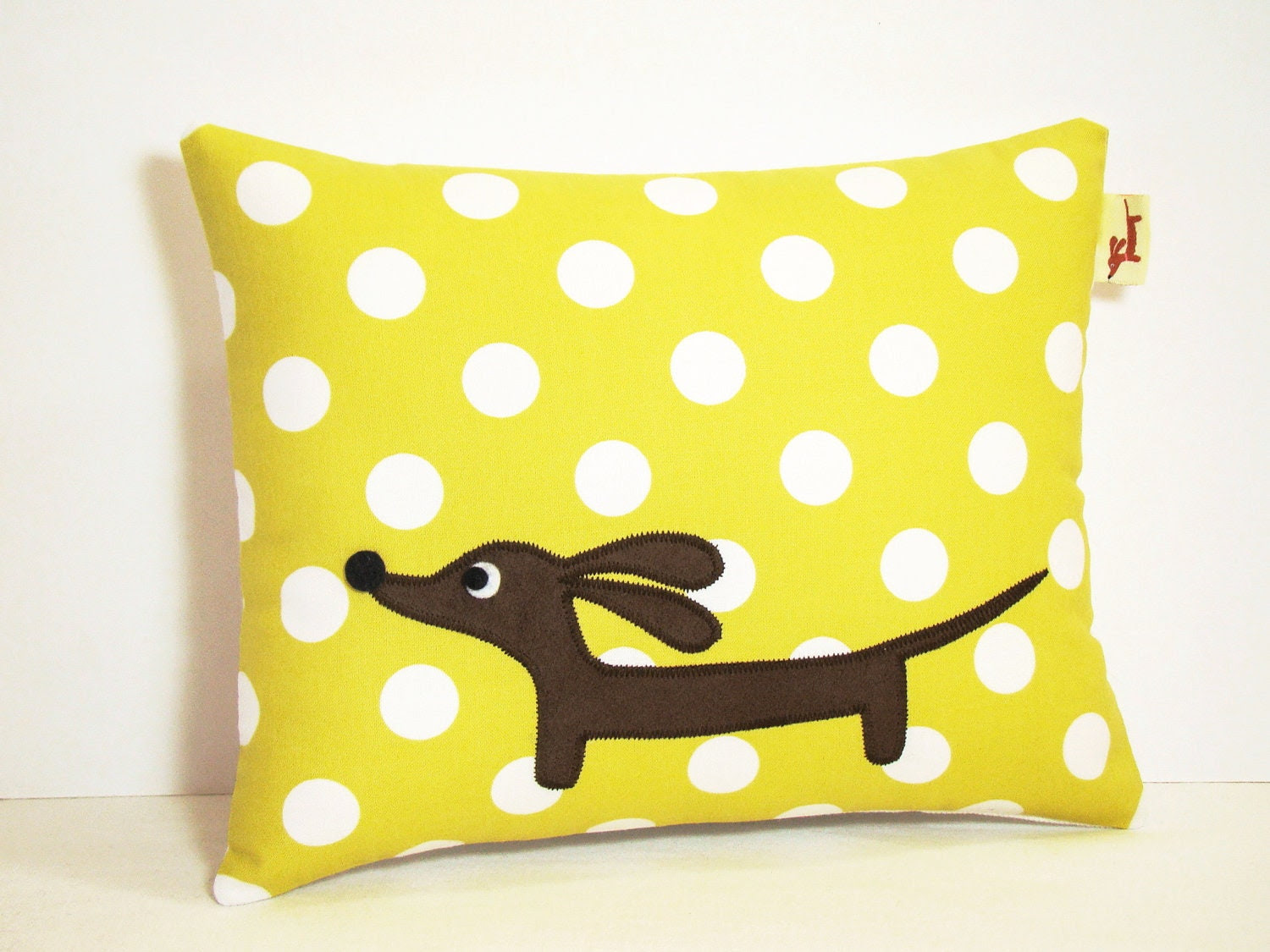 Wiener Dog Dachshund Pillow - Doxie Chartreuse Dot Delight - persnicketypelican