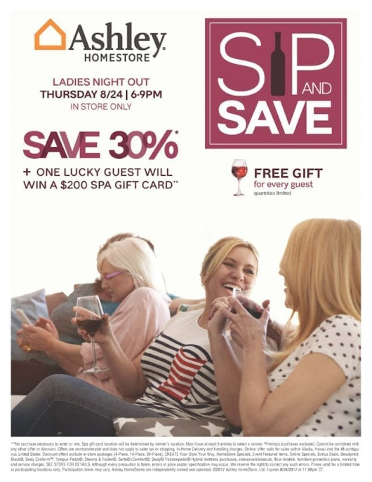Ashley Homestore Ladies Night Out Sip and Save Event