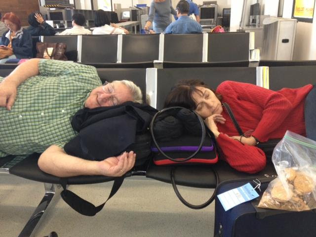 asleep in airport