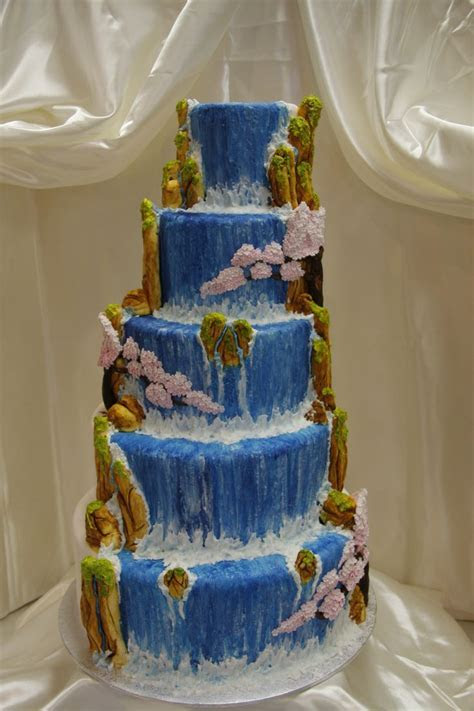 Hand crafted and hand painted waterfall and cherry blossom