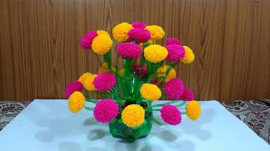 Diy Plastic Bottle Flower Vase How To Make Woolen Flower Pot With
