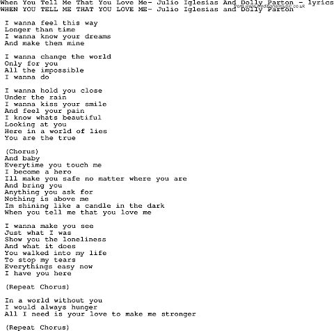 Tell Me Tell Me That You Love Me Lyrics