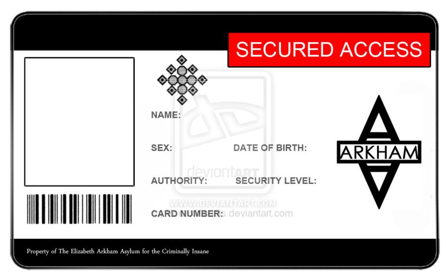 Arkham Asylum ID Card - Blank by ~VortexVisuals | batman ...