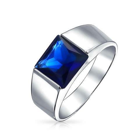 .925 Silver Blue Simulated Sapphire Princess Cut CZ Mens