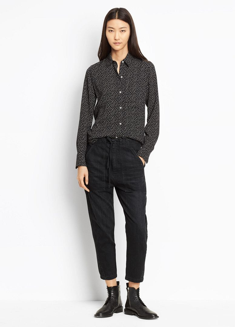 Vince Patch Front Utility Pant in Dark Black Wash