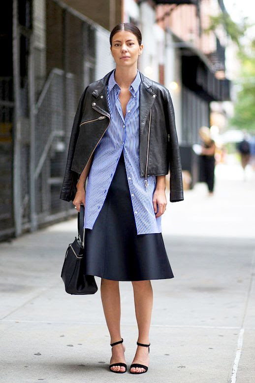 Le Fashion Blog Street Style Leather Jacket Blue Striped Button Down Shirt Top Handle Leather Bag Navy High Waisted Skirt Black Ankle Strap Sandals Via Harpers Bazaar