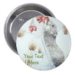 Cute mouse and red berries snow scene wildlife art 3 inch round button