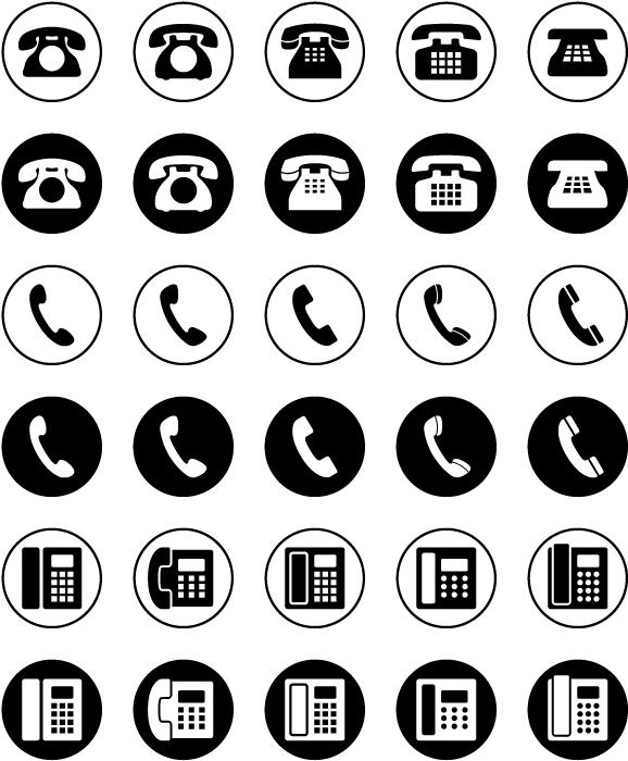 フリーイラスト 30種類の電話機のアイコンのセットでアハ体験 Gahag