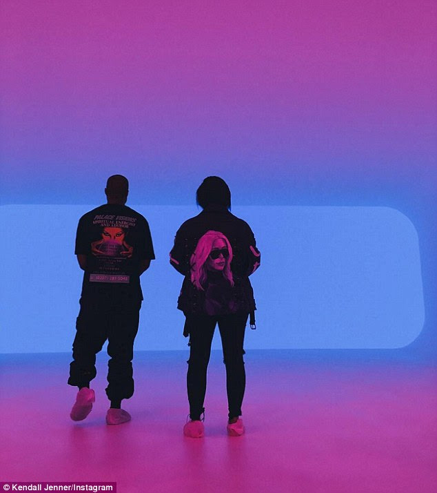 Right up Pablo's alley: Kanye and Kim paused to appreciate the artisty of the constantly changing colors, as shown in this Instagram pic shared by Kendall