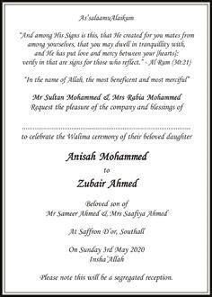 Muslim Wedding Cards Wordings   Islamic Card Wordings