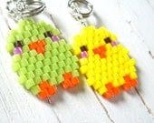 Seed Bead Baby Bird Charm / Pendant,  Cute Beaded Jewelry, Beaded Chicks in Yellow or Green - BeadCrumbs