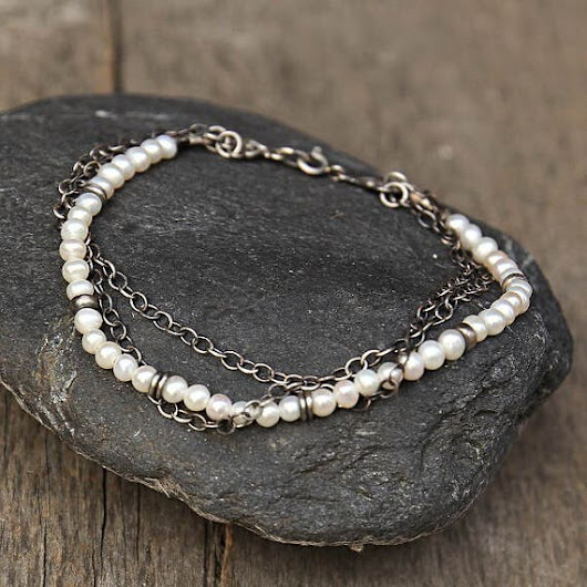 Freshwater pearls and Sterling Silver 925 Bracelet Layered