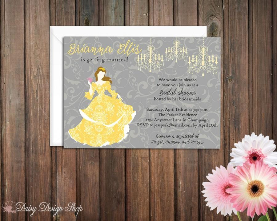 Bridal Shower Invitation Belle Princess Silhouette With