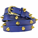 Luxury Divas Skinny Gold Spike Studded Belt - Blue - One Size
