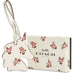 Coach Original Leather Printed Unicorn Floral Designed Ornament Wallet for Women, Chalk