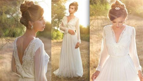 2019 Boho Wedding Dresses Long Sleeves V Neck Open Back