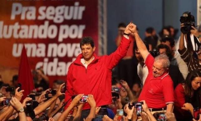 Fernando Haddad, prefeito de São Paulo e candidato a reeleição, e Lula (Foto:  Instituto Lula)